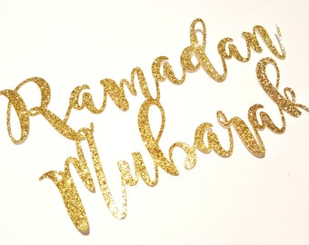 Ramadan Mubarak Cake Topper, Glitter Gold Silver, Islamic decor, Cake decor, Eid, Ramadan, Mabrook, Shaadi Islamic party, cupcake, desserts