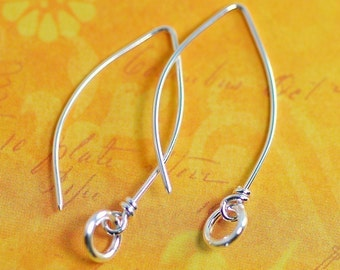 Elongated Sterling Silver Handmade Ear Wires with Small Rings:  1 pair