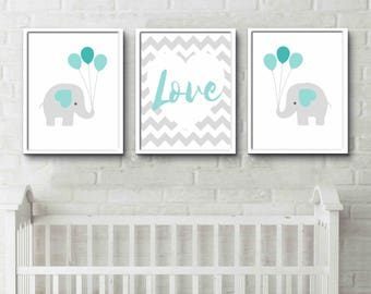 Elephant print set, elephant baby shower, elephant wall art, elephant nursery, safari nursery art, safari baby shower, safari nursery set