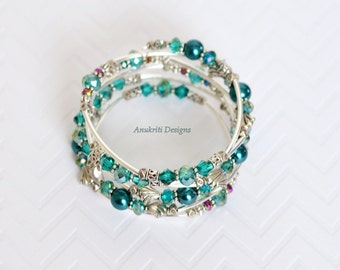 Teal Memory wire bracelet - Womens gift - Birthday Gift for her under 20 - Boho Jewelry - Crystal bracelet - Pearl Beaded Slinky Bracelet