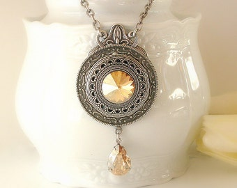 Golden Shadow Swarovski Crystal Necklace  - Victorian Silver Pendant - Victorian Gothic Jewelry