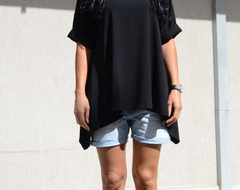 Top blouse loose, long loose top, summer top loose, loose cotton top, casual black top, oversized boho top, casual black top, oversized top