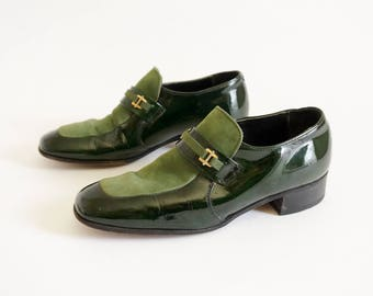 Vintage 1960s 70s Mens Size 8.5 Shoes Nunn Bush Green Patent Leather Suede Loafers Dressy Casual Groovy