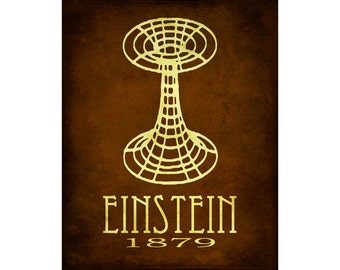 Albert Einstein 11x14 Science Art Print  - Steampunk Relativity Einstein-Rosenbridge Wormhole Illustration