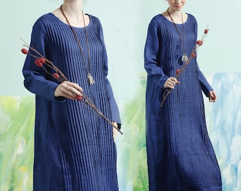 Maxi Dress In Blue, Long Linen Dress, Pleated Dress, Tunic Dress, Shirt Dress, Maxi Linen Dress, Long Sleeve Dress, Winter Dress, Plus Size