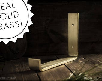 Brass Shelf Bracket - Mid Century Modern Brass Decor Hardware, Modern Open Shelves, Rustic Speakeasy Shelf Brackets, Made in USA, Shelving