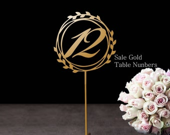 Sale Elegant Gold table numbers - Freestanding numbers for wedding- Table numbers-Wedding Decor