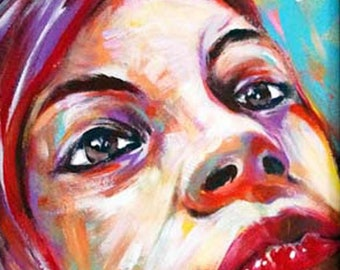 The red hair girl. Pop painting portrait of woman.