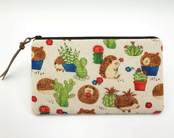 Hedgehog Cactus Pouch - Zipper Pencil Pouch - Cute Gifts For Friends - Hedgehog Gift ideas - Padded Zipper Bag - Cute Pencil Case