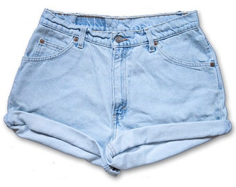Vintage 90s Levi's Light Blue Wash High Waisted Rise Cut Offs Cuffed Rolled Jean Denim Shorts – Size 29/30