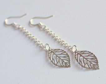 Silver Leaf Long earrings