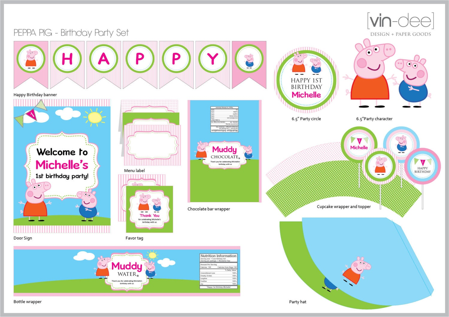 Peppa Pig Birthday Party Set DIY Printable