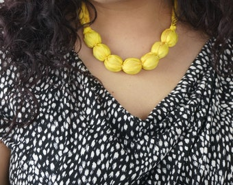 Daffodil yellow necklace, chunky fabric bead necklace, boho style, gift for mum, summer necklace, women's accessories, neon gifts, silk gift