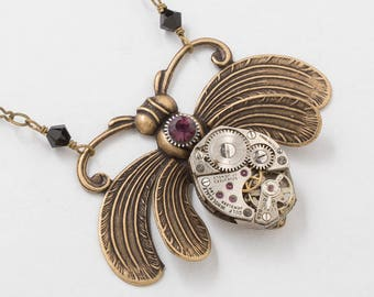 Bee Necklace, Steampunk Jewelry with a Vintage Silver Watch Movement, Amethyst Crystal set in a Gear & Black Crystal Beads, Gold Bee Pendant