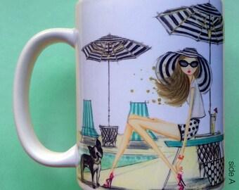 Patricia Poolside, Coffee Mug, Fashion illustration, Bella Pilar, Fashion mug