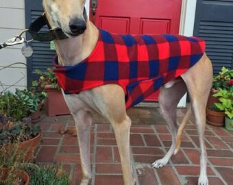Greyhound Dog Coat, XL Dog Jacket, Red and Navy Buffalo Plaid Fleece with Navy Blue Fleece Lining