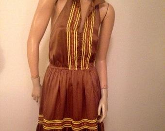 SALE  Betsey Johnson Brown Backless Sun dress M