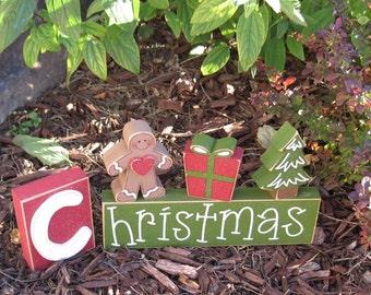 CHRISTMAS BLOCKS with gingerbread man, present, christmas tree, for desk, shelf, mantle, holiday, December, xmas, noel, home decor