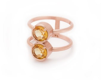 Stacked Rose Gold Ring - Citrine Ring - Stacking Ring - Natural Gemstone Ring - Round Stack Ring - Double Gemstone - Sizes 5, 6, 7