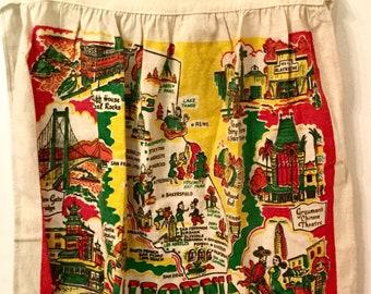 Vintage California state map half apron tie back