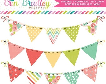 80% OFF SALE Muted Brights Bunting Clipart Banner Flag Clip Art Graphics Commercial Use OK Great for Logos