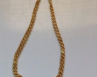 Vintage chevron necklace gold tone-rhinestones
