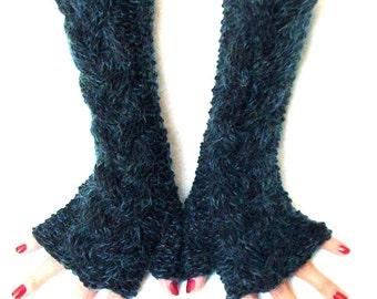Knit Fingerless Gloves Navy Dark Blue Cabled