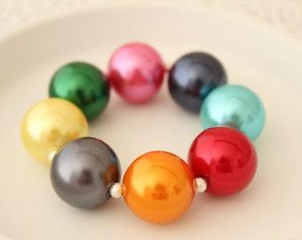 Pearl Chunky Bracelet - Pearl Bracelet - Bubblegum Bracelet - Girls Bracelet - Kids Pearl Bracelet - Kids Chunky Bracelet - Gift for Girls