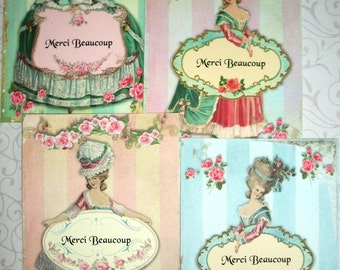 MARIE ANTOINETTE -set of 8 Thank you Folded Notecards with envelopes  - MAR 443