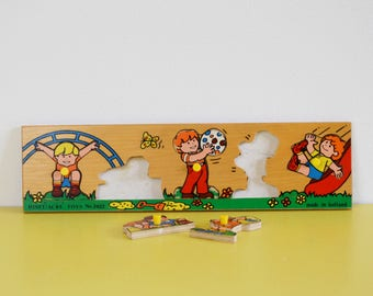 Vintage Wooden Toy Puzzle, Diset Acre No 2422 Puzzle, Dutch Wooden Childrens Toy, Kids Vintage Wood Puzzle, Playtime Wooden Puzzle Game