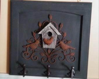 Cabinet door Wall coat hanger with 3 hanger and mounting hardware  Blue grey