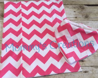 Handmade Bandana Bib 6-12M and Burp Cloth Flannel with Terry Cloth--Pink & White Chevron