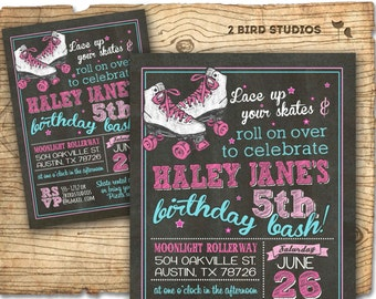Roller skating invitation - Roller skate party invitation -  Roller skating party - Roller derby birthday party invitation - Girls invite