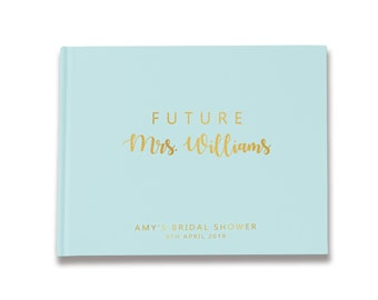 Personalized Future Mrs Bridal Shower Guest Book Ideas, Gold Bridal Shower Decorations, Color Choices Available, BB004