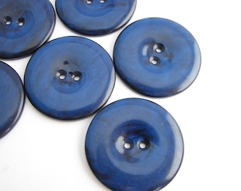 Royal blue buttons, Large coat buttons 33 mm, Big flat buttons for cooats, UNUSED!!