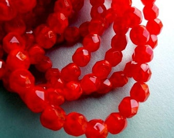 6mm Fire Polished Beads - Orange Faceted Rounds -  Orange Czech Glass Beads
