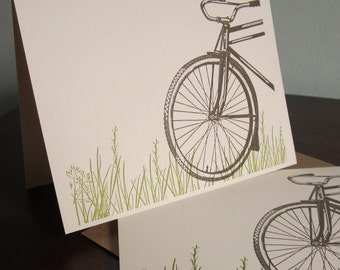 Bike In Grass - 12-Pack Letterpress Printed Greeting Cards
