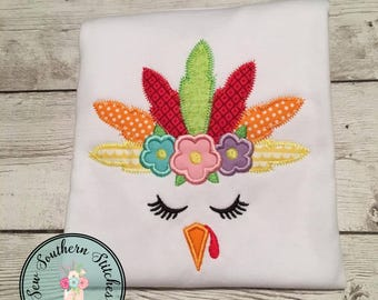 Floral Girl Turkey Face Applique Design ~ ZigZag Feathers ~ Boho Chic ~ Instant Download