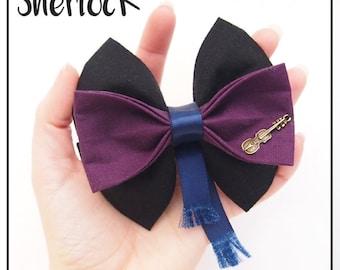 Sherlock Inspired Hair Bow / Bow Tie (Double / Single)