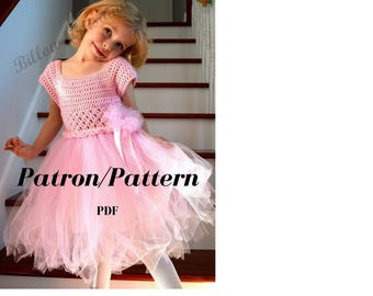 Pattern: Girls's dress with tulle skirt