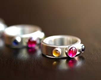 Personalized Three Birthstone Ring (E0346)