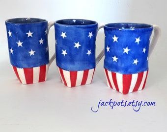 Patriotic Mug, 4th of July Pottery Mug, Red White and Blue, Stars and Stripes Coffee Cup, Handbuilt Pottery, Stoneware Mug, Ceramic Tea Cup