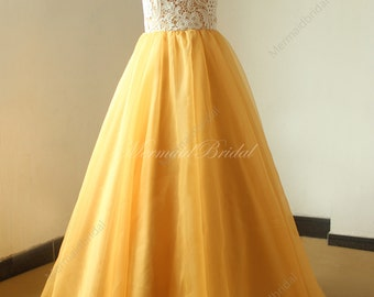 Vintage long gold lace wedding dress