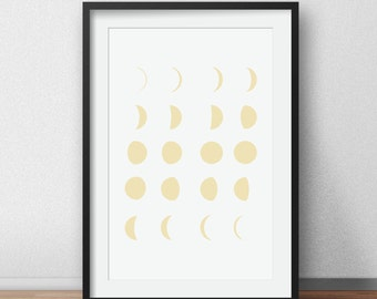 Yellow Moon Print, Moon Phases Wall Art, Yellow Moon, Yellow Moon Art, Yellow Nursery, Moon Calendar, Moon Phase, Yellow Nursery Decor
