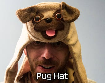 Pug Hat - Fleece Animal