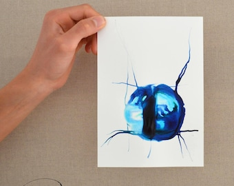 A5 Abstract ink blue painting- Drop of water, nature art, geometric, circle, minimal, abstract art, blue star, modern abstract, ink art, art