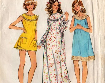1972 Misses NIGHTGOWN & BLOOMERS PATTERN Simplicity #5030 Size Large 16-18 Three Lengths Vintage Sewing