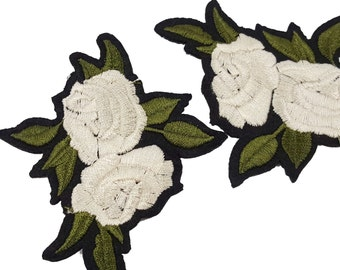 Iron On White Embroidered Flowers Roses Patches Appliques 2 pcs