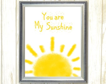 You Are My Sunshine, Baby nursery decor, Printable Nursery wall art, Nursery Download, yellow and white playroom wall art Baby room decor