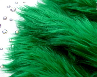 "Green faux fur 2"" pile, green craft squares, green fursuit fur, green cosplay fur, green long pile faux fur, shag fur, faux fur, green fur"